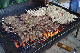 Burundian cuisine - Image: Brochettes in Burundi East Africa