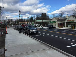 Brookfield, Connecticut - The newly-completed streetscape of Brookfield's Town Center District, which includes sidewalks, parallel parking and new storefronts.