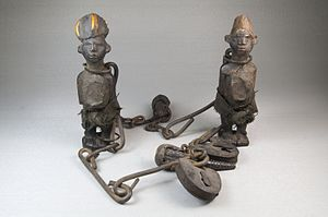 Nkisi - Chained Nkisi figures, from the collection of the Brooklyn Museum