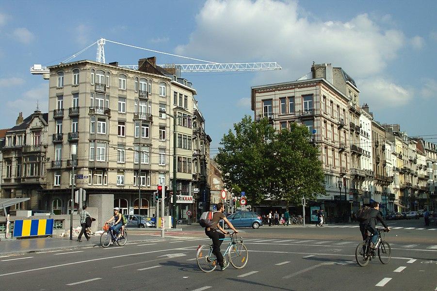 Rue de Antoine Dansaert Street in central Brussels, Belgium