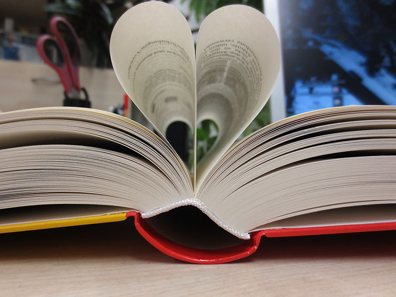 photo of a book with pages tucked to create a heart shape