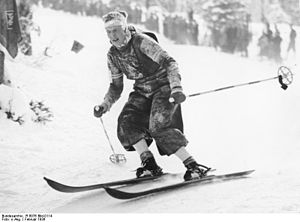Alpine skiing at the 1936 Winter Olympics – Women's combined - Jeanette Kessler of Great Britain during the downhill; she finished 12th in the downhill and 8th overall.