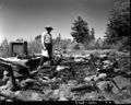 Burned down radio shack at Lava Point, lightning strike. ; ZION Museum and Archives Image ZION 8658 ; ZION 8658 (4ce735d9a0154226b68bd5368e5a0037).tif