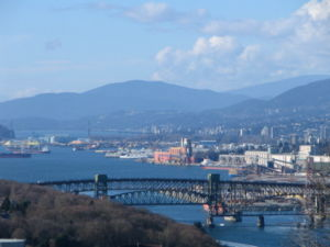Burrard Inlet - Burrard Inlet and the Second Narrows Ironworkers Memorial Bridge, looking west from Capitol Hill in Burnaby