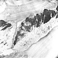 Burroughs and Muir Glaciers, tidewater glacier with aretes septerating the glaciers, August 22, 1965 (GLACIERS 5682).jpg