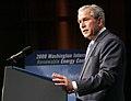 Bush at podium at renewable energy conference.jpg