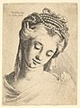 Bust of a young woman with elaborate headdress, looking down. MET DP823693.jpg