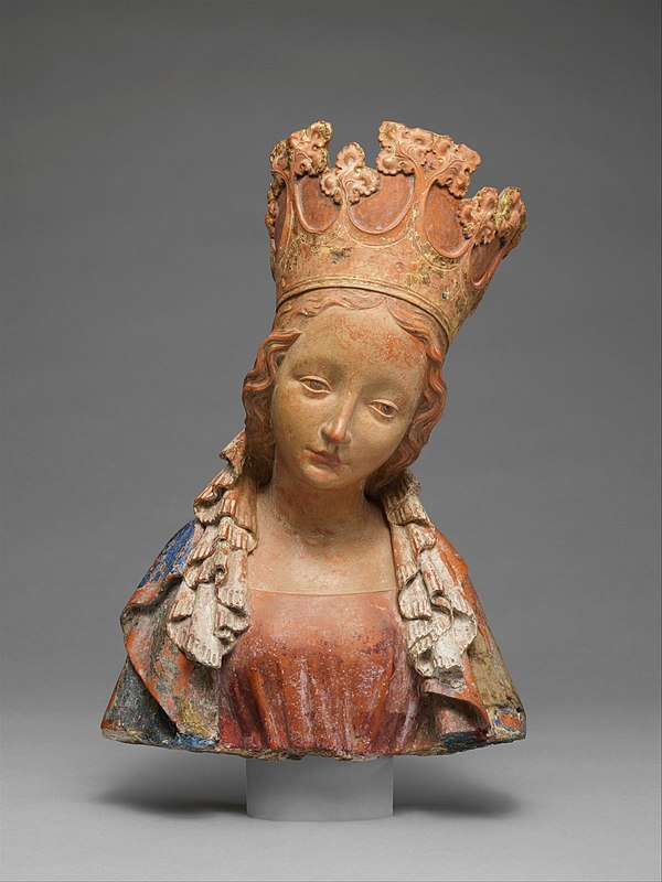 Bust of the Virgin, Bohemia, c. 1390–95, terracotta with polychromy