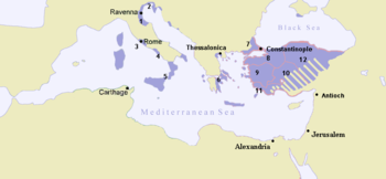 The Byzantine Empire at the accession of Leo III the Isaurian, c. AD 717. Dalmatian enclaves are visible along the Adriatic shore.