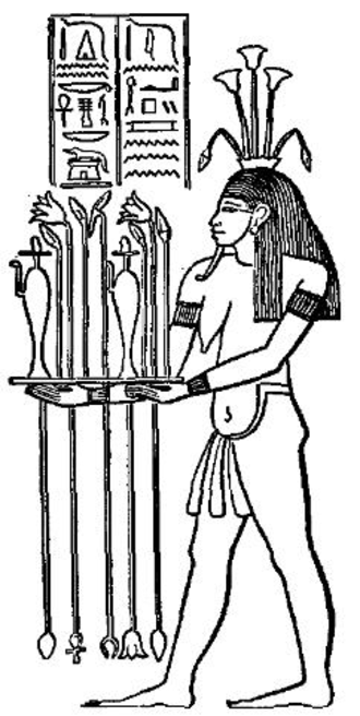 Hapi (Nile god) - Hapi, bearing offerings