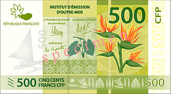 A 500-CFP franc (EUR4.20; US$4.70) banknote, used in French Polynesia, New Caledonia and Wallis and Futuna. CFP 500 recto.jpg
