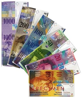 Banknotes of the Swiss franc - The current series of the Swiss franc (in the process of being renewed since 2016). As of 2015, the Swiss 1000-franc banknote is the world's second highest value currently-issued banknote, after the Brunei $10,000 bill (worth around 7,000 Swiss francs in 2016), followed by the Singapore $1,000 note (worth around 700 CHF) and the 500 euro note (worth around 540 CHF).