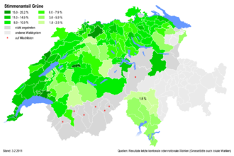 Green Party of Switzerland - Percentages of the Green Party at district level in 2011