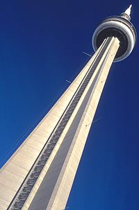 The CN Tower as seen from its base