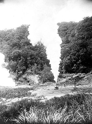 Geothermal power in Indonesia - First successful geothermal test boring in Indonesia at Kawah Kamojang in 1926