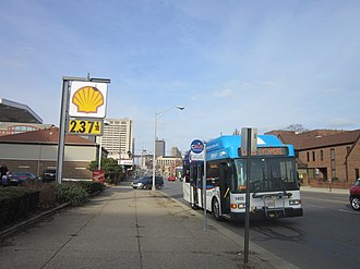 Brewery District, Columbus - COTA circulator stopping on high street