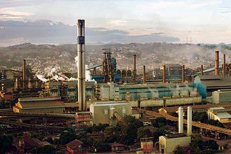 Companhia Siderúrgica Nacional - Panoramic view of the Companhia Siderúrgica Nacional, in the Center of the city of Volta Redonda, Rio de Janeiro, Brazil
