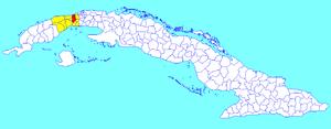 Caimito, Cuba - Image: Caimito (Cuban municipal map)