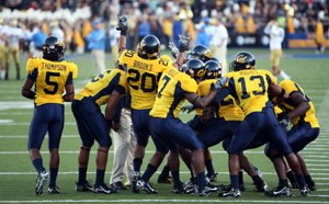 2006 California Golden Bears football team - The Cal secondary prior to the game