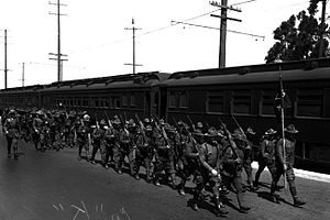 California National Guard - 160th Infantry of California National Guard, arriving in Los Angeles, August 17, 1924