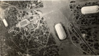 Camp John Wise -  Balloon beds from the air over Camp John Wise circa 1918.