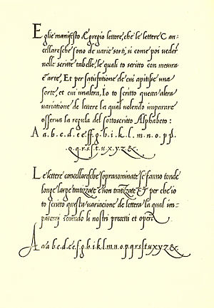 Bembo - Giovanni Antonio Tagliente's 1524 writing manual, which inspired Bembo's italic. This section is engraved as a simulation of Tagliente's handwriting; other parts were set in a typeface of similar design.