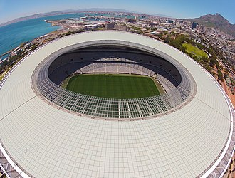 Cape Town Stadium - An aerial view of the stadium from just above its roof.