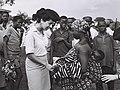 Capt. Rachel Rokah, Israeli instructor of the Israeli Women's Army unit, talking to a settler of new cooperative village Houphouet-Kro in Ivory Coast. D772-118.jpg