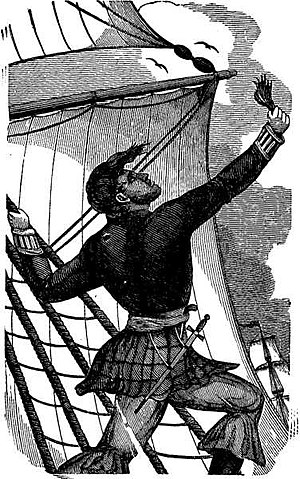 William Lewis (pirate) - Captain Lewis giving a lock of his hair to the Devil after his masts are damaged off the coast of Guniea.