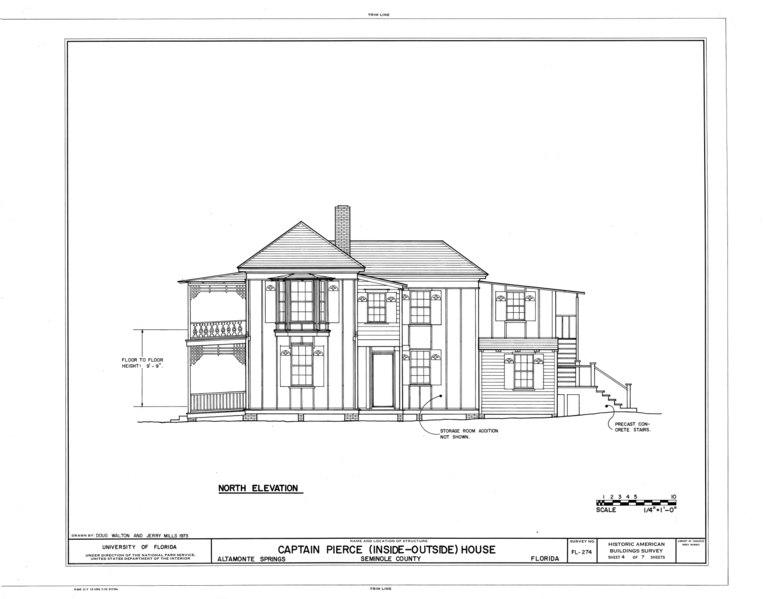 File:Captain Pierce House, Boston Avenue, Altamonte Springs, Seminole County, FL HABS FLA,59-ALTSP,1- (sheet 4 of 7).tif