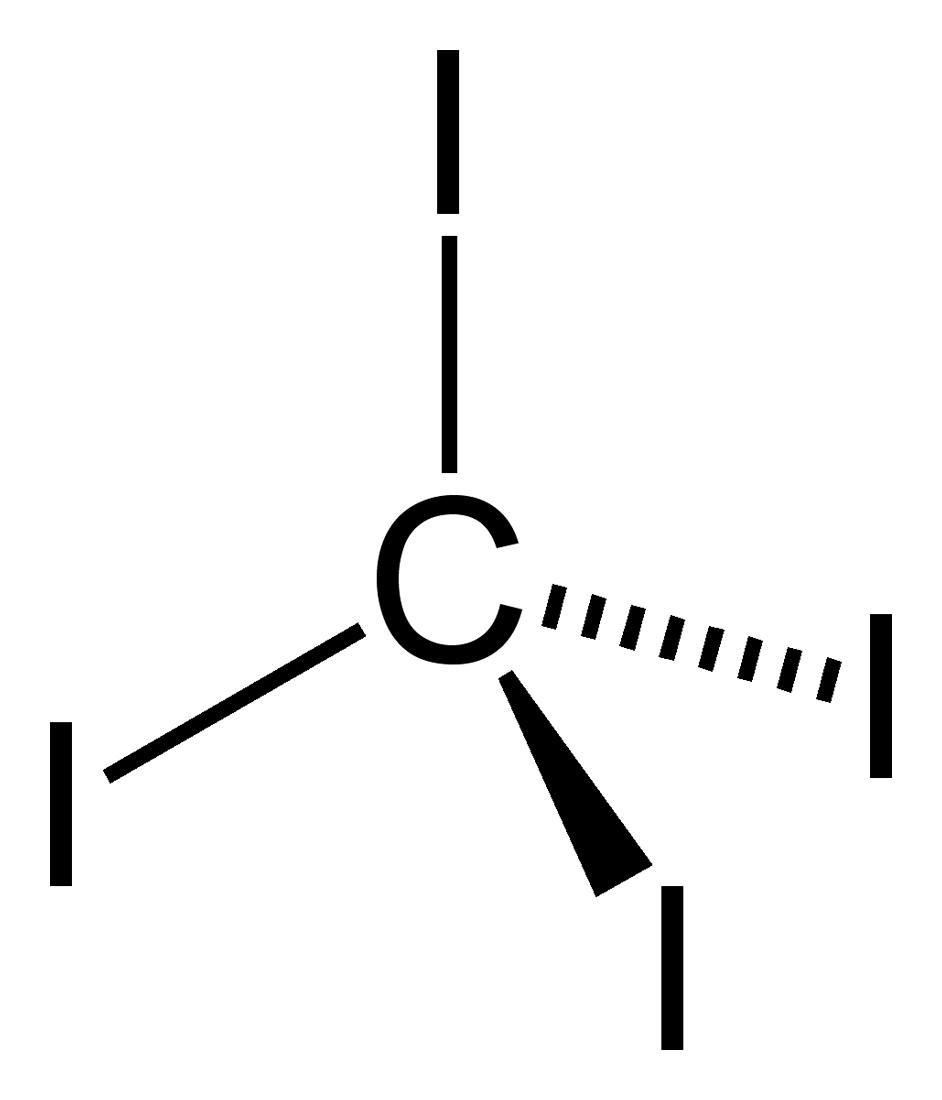 Stereo, skeletal formula of carbon tetraiodide