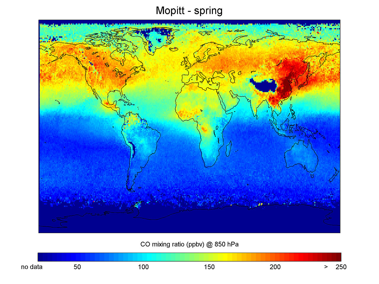 Carbon Monoxide concentrations in Northern Hemisphere spring as measured with the MOPITT instrument.