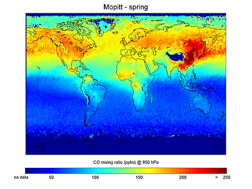 Carbon Monoxide concentrations in spring.