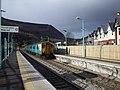 Cardiff-bound train entering Crosskeys Station - geograph.org.uk - 1157270.jpg