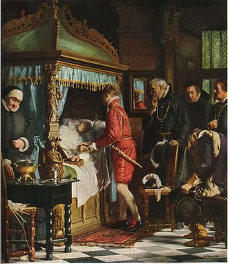 Christian IV of Denmark - At the death bed of Niels Kaas. The 17-year-old Christian IV receives from the dying chancellor the keys to the vault where the royal crown and sceptre are stored. History painting by Carl Bloch, 1880.