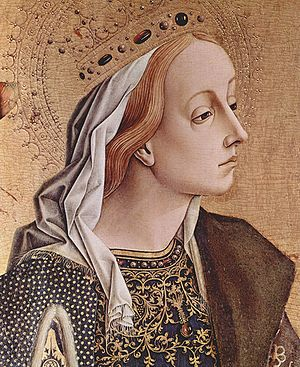 Katherine - Catherine of Alexandria, by Carlo Crivelli. The name Catherine became famous in Christian communities because of this early saint