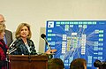 Carolyn Maloney shows a chart of the tangled congressional oversight of homeland security to the assembled media.jpg