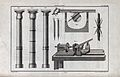 Carpentry; a lathe, with an assortment of tools for turning, Wellcome V0023910.jpg