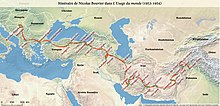 Carte du voyage de Nicolas Bouvier dans L'Usage du monde
