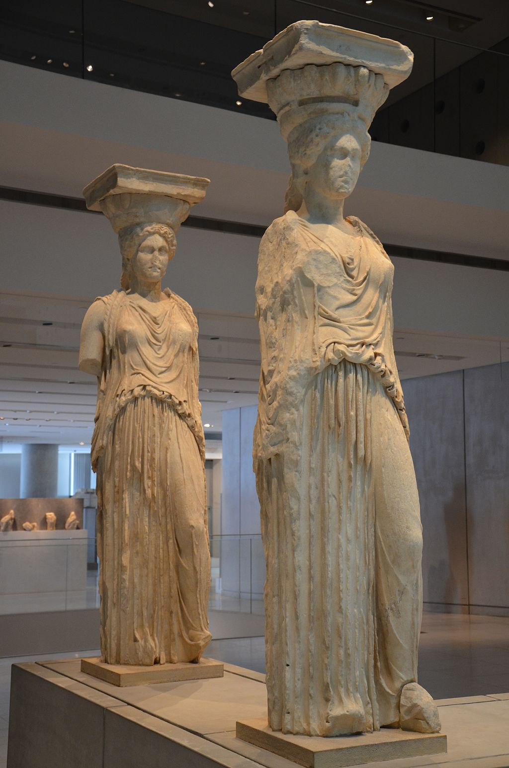 Caryatids from the Erechtheion on the Acropolis, Acropolis Museum, Athens (13889706087)