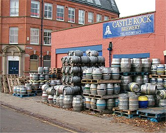 Microbrewery - Casks and kegs (mostly 9-gallon casks called firkins) outside the Castle Rock microbrewery in Nottingham, England