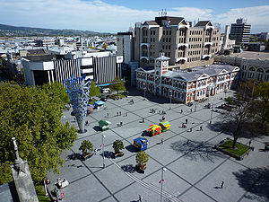 View of Cathedral Square, Christchurch, New Ze...