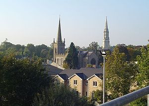 Cavan - View of Cavan Catholic Cathedral (spire on the right) and the Church of Ireland Parish Church (spire on the left)