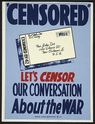 Censorship in the United States - WPA poster, 1943