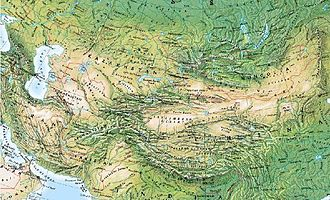 Roof of the World - Physical map of Central Asia from the Caucasus in the NW, to Mongolia in the NE.