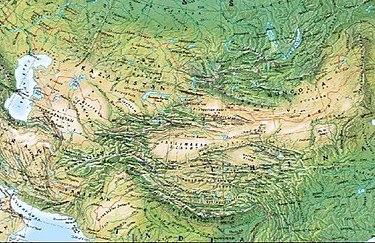 Carta geografica fisica dell' asia centrale