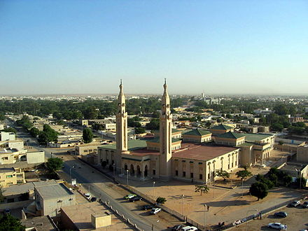 Nouakchott is the capital and the largest city of Mauritania. It is one of the largest cities in the Sahara. Central mosque in Nouakchott.jpg