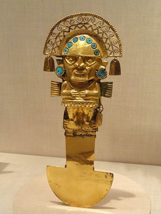 Tumi - Sican-style Tumi, 750-1100 AD, from the north coast of Peru, gold with turquoise, exhibited in the Art Institute of Chicago