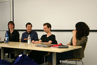 Martin Hollis (video game designer) - Panel at 2005 game event in Cambridge. From left to right: Aleks Krotoski, David Braben, Martin Hollis, Alice Taylor.