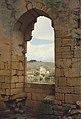 Château de Commarque en 1985, fenêtre donnant vue sur château de Laussel.jpg